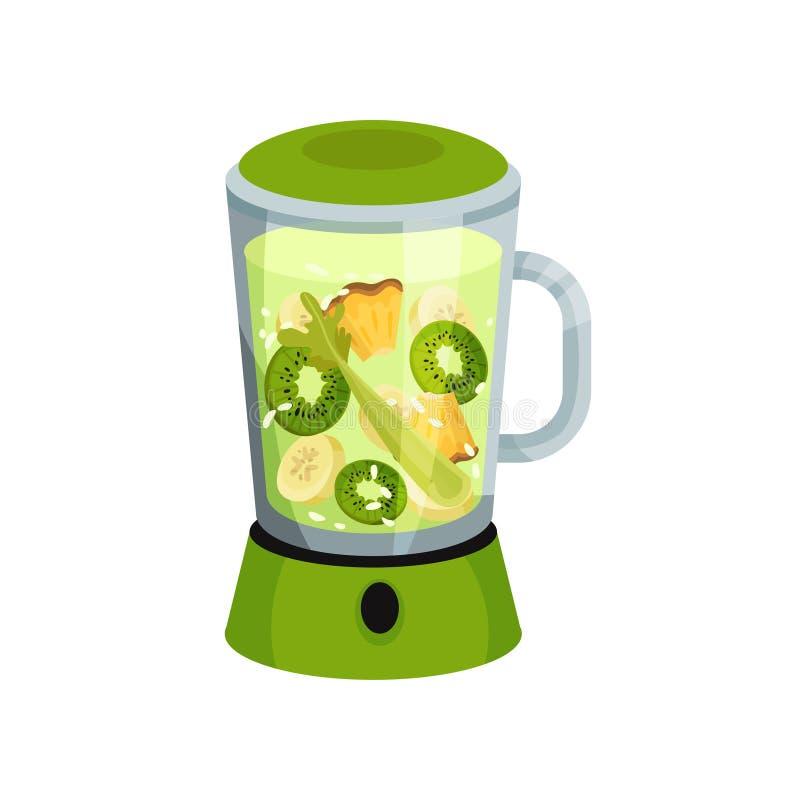 Coctail med kiwin, banan, anance, selleri i gr?n blandare royaltyfri illustrationer