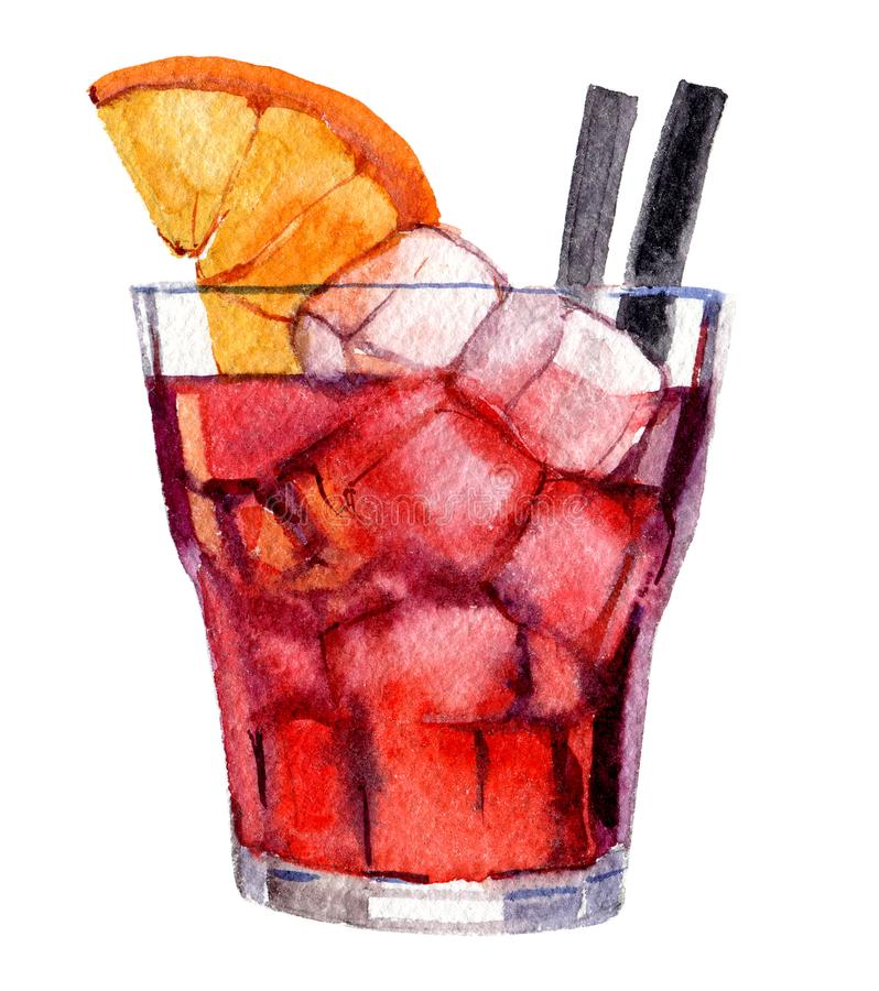 Coctail med is och apelsinen som isoleras på vitt, vattenfärgillustration royaltyfri illustrationer