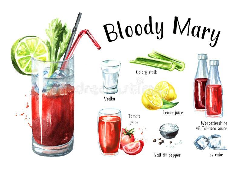 Coctail med uppsättningen för alkoholBloody Maryingredienser Dragen illustration för vattenfärg som hand isoleras på vit bakgrund stock illustrationer