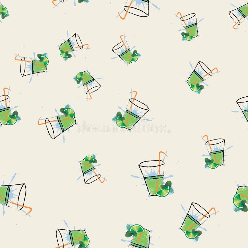 Coctail Mojito också vektor för coreldrawillustration Mojito sömlös modell Ny drink för lemonadsodavattensommar stock illustrationer