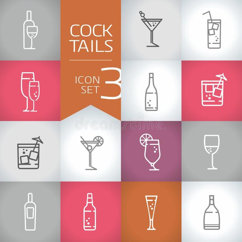 Coctail- och drinkvektorn drar upp konturerna av symboler med modern bakgrund för färg stock illustrationer