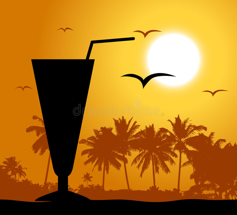 Coctail party on the beach stock illustration
