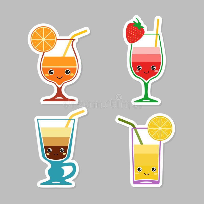 Coctail. Set of stickers of kids cocktails with sliced fruit stock illustration