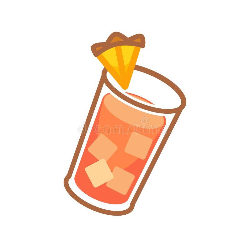 Coctail som tjänas som med apelsinen vektor illustrationer