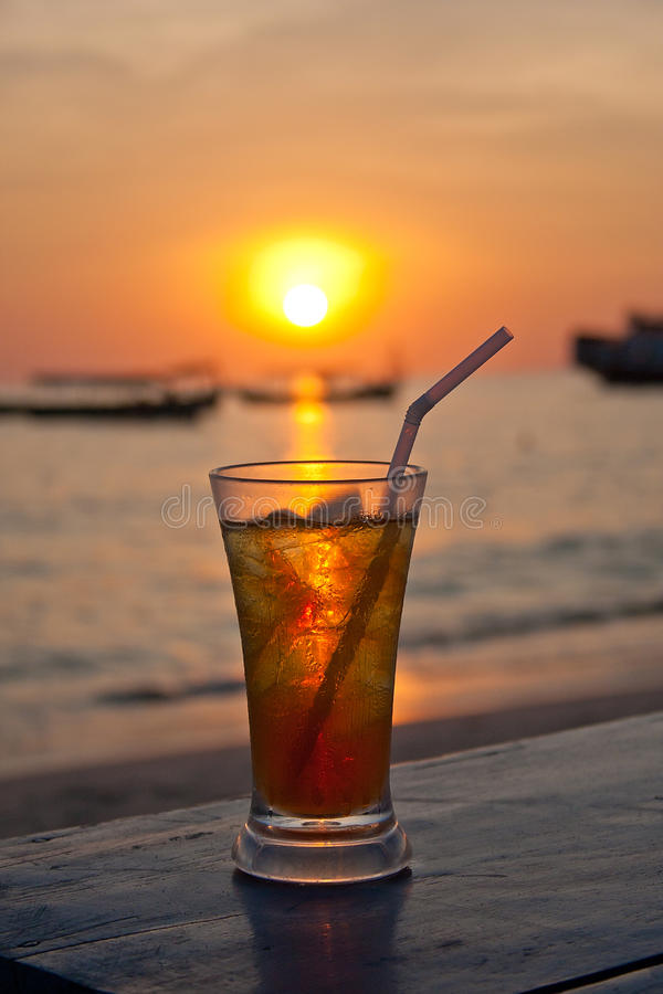 Coctail on the sunset beach royalty free stock photo