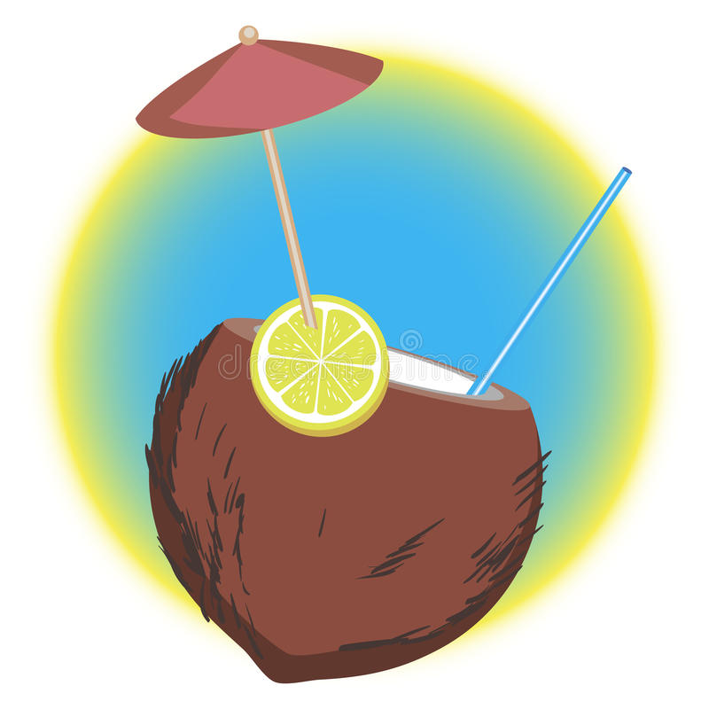 Coctail tropical de noix de coco Illustration de vecteur image stock