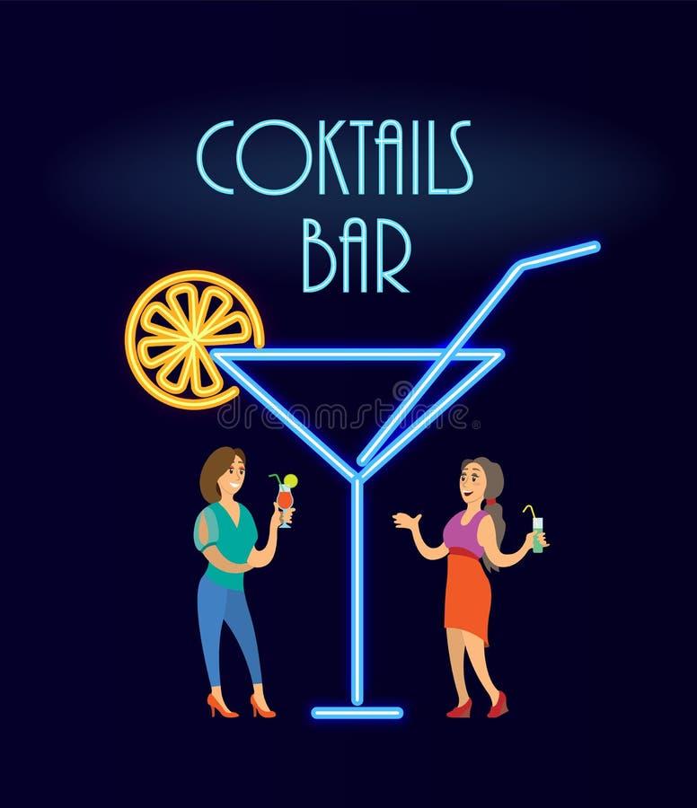 Coctailar bommar för neon, kvinnor i vektor för aftonklänning stock illustrationer