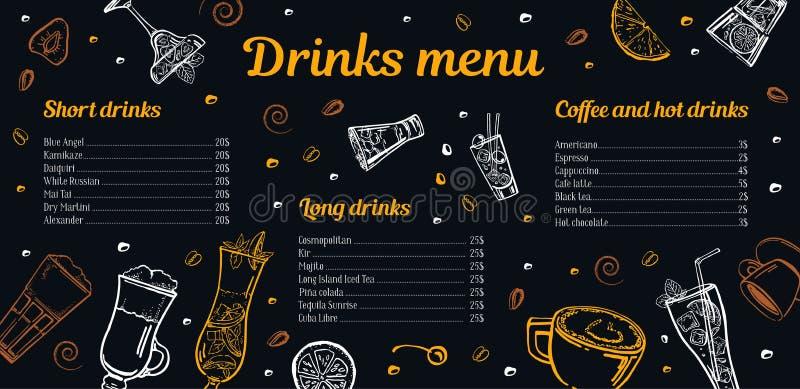 Coctailar, kaffe och varm mall för drinkmenydesign med listan av drinkar och bilder royaltyfri illustrationer