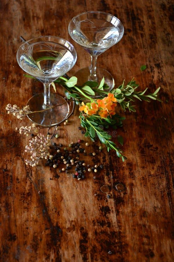Coctailar och botanicals royaltyfri foto