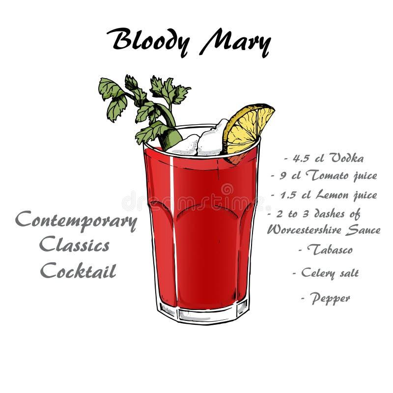 Coctailen blodiga mary skissar in stil för menyn, coctailkort 2 stock illustrationer