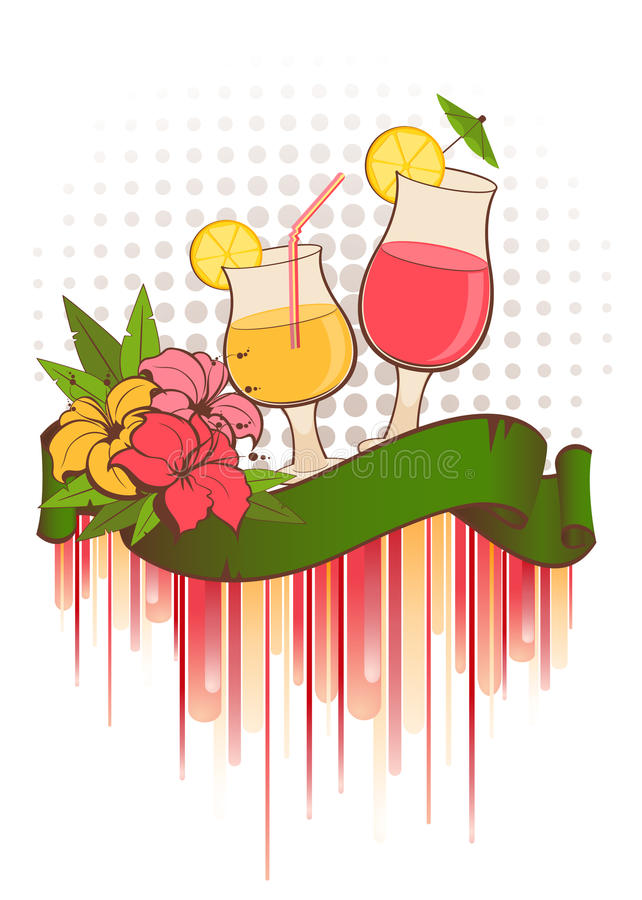 coctailen blommar sommar vektor illustrationer