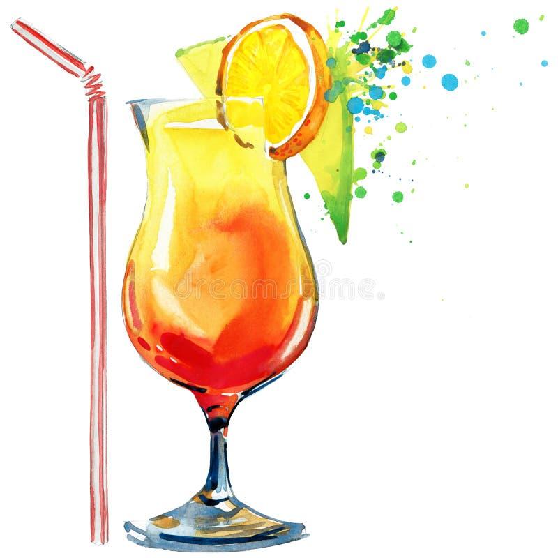 Coctailfrukt, is och en färgstänk Hand dragen vattenfärgillustration stock illustrationer