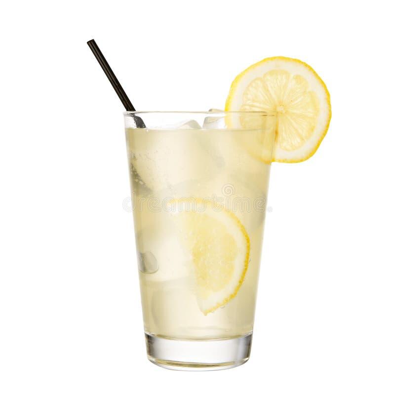 Coctailgin och uppiggningsmedel med citronen som isoleras på vit bakgrund arkivbilder
