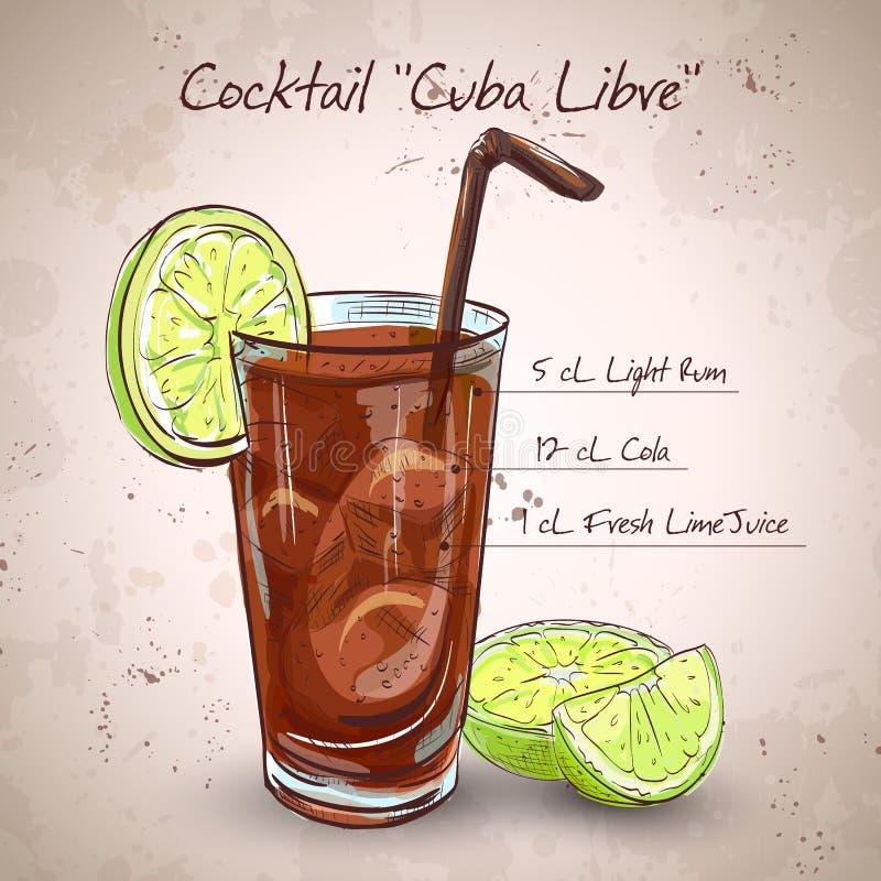 CoctailKuba Libre stock illustrationer
