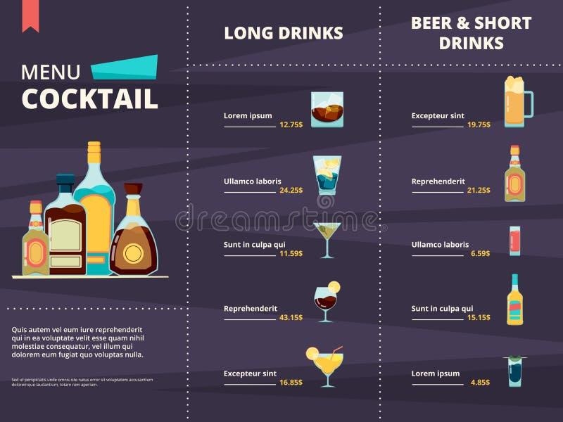 coctailmeny Alkoholiserade olika företags drinkar i mall för design för restaurang- eller stångmenyvektor vektor illustrationer