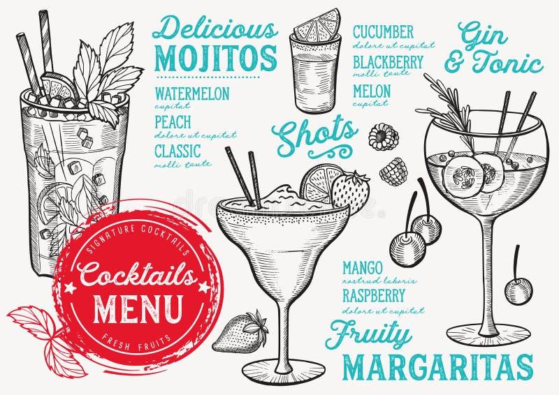 Coctailmeny för stången, drinkmall stock illustrationer