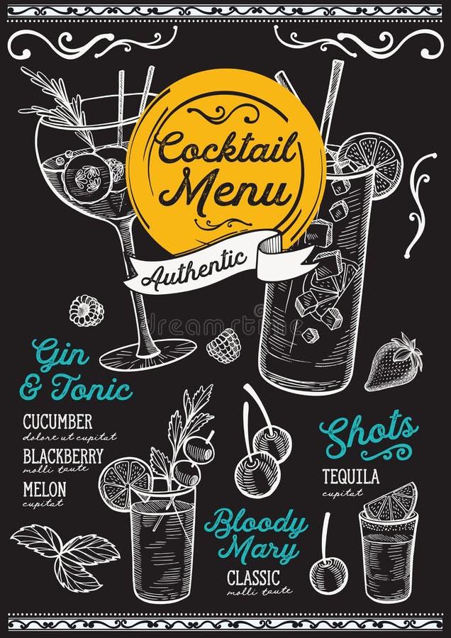 Coctailmeny för stången, drinkmall royaltyfri illustrationer
