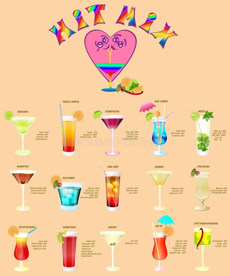Coctailmeny, som består av populära drinkar royaltyfri illustrationer