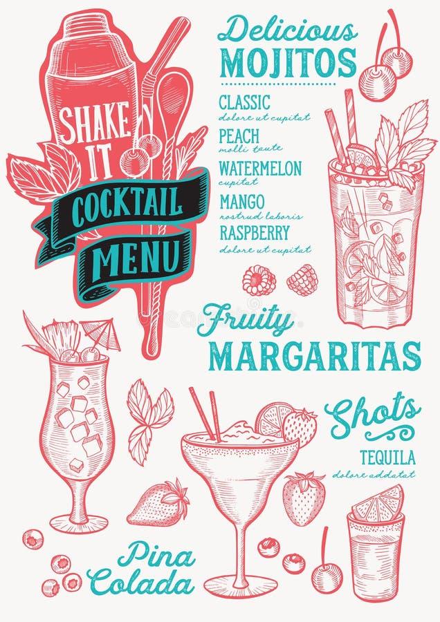 Coctailmenymall för meny för restaurangdrinkstång vektor illustrationer