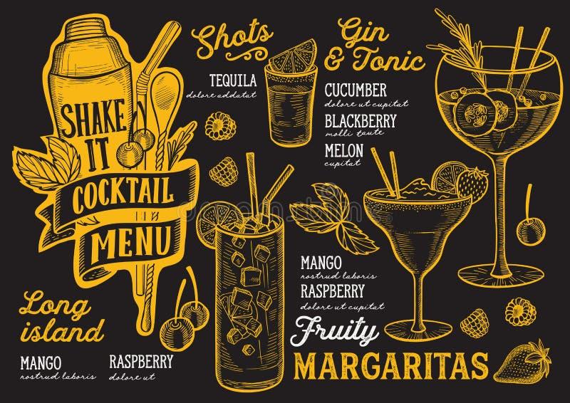 Coctailmenymall för restaurang på en broschyr för illustration för svart tavlabakgrundsvektor för mat- och drinkstång Design stock illustrationer