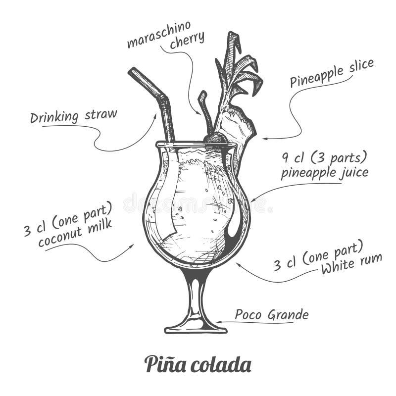 CoctailPina colada stock illustrationer