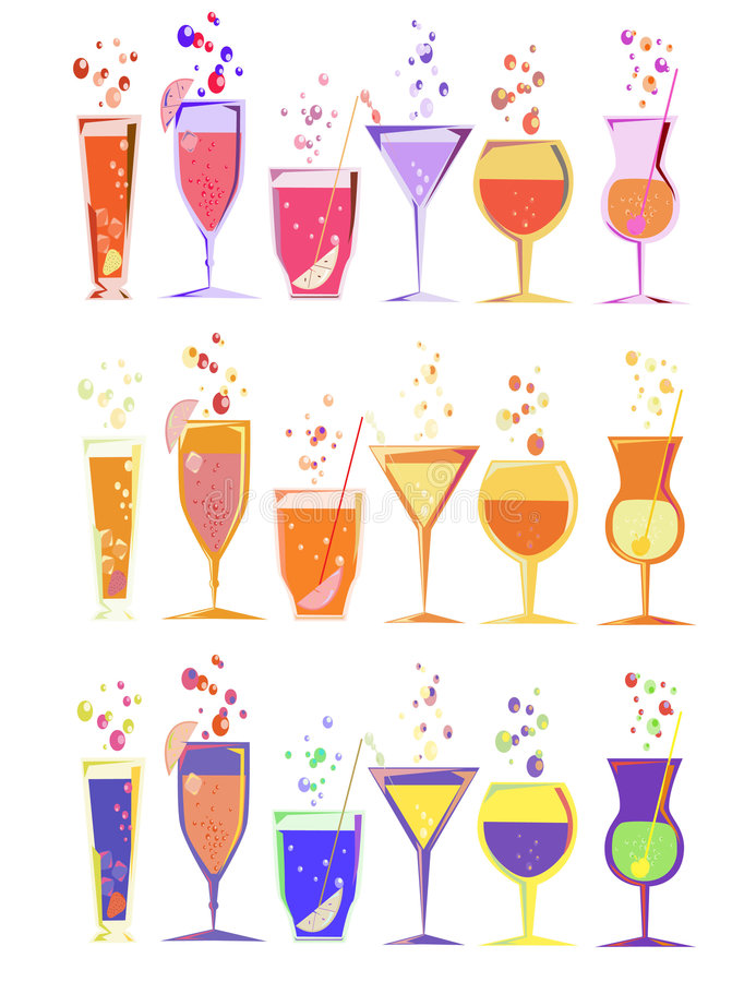 coctails royaltyfri illustrationer