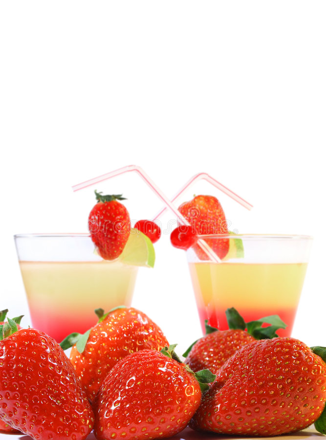 Coctails and strawberries stock photo
