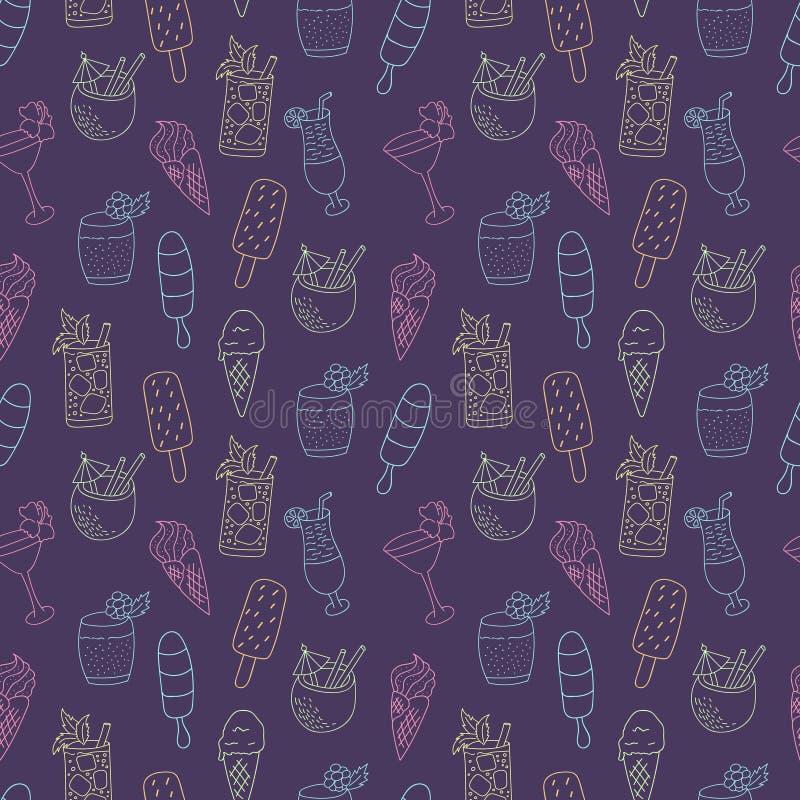 Coctails y modelo del helado stock de ilustración