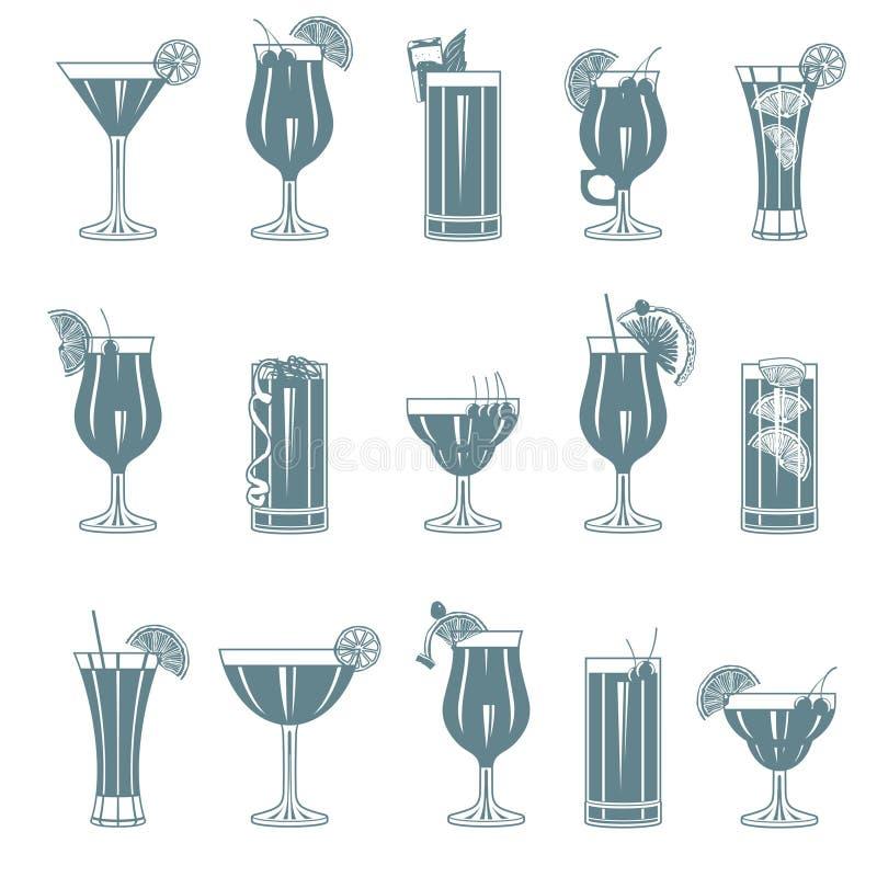 coctailset royaltyfri illustrationer