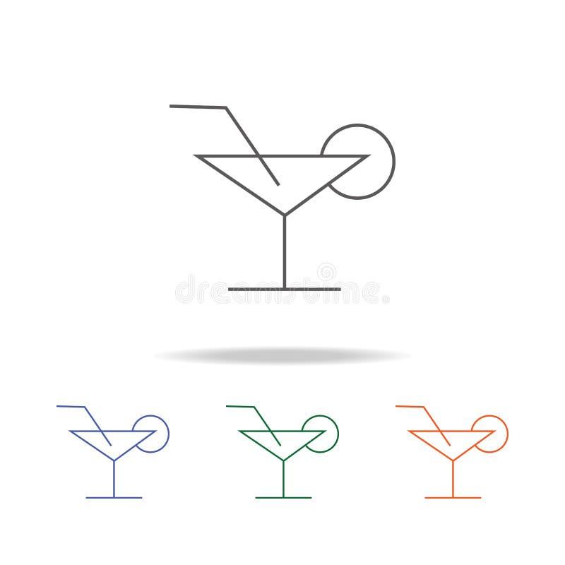 Coctailsymbol Beståndsdel av en mång- kulör symbol för parti för mobila begrepps- och rengöringsdukapps Tunn linje symbol för web stock illustrationer