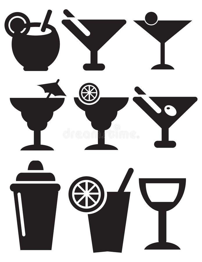 Coctailsymboler stock illustrationer