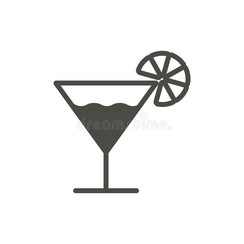 Coctailsymbolsvektor Glass drinksymbol Moderiktig plan uiteckendesign Coctail grafisk pictogram för stock illustrationer