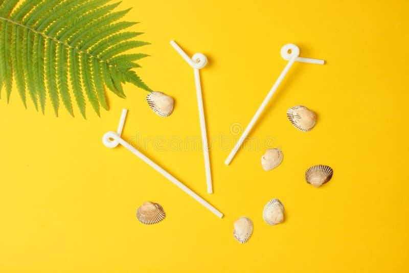 Coctailtubules, snäckskal, ormbunkeblad på en gul bakgrund Begreppet av semesterorten på stranden, minimalism royaltyfri foto
