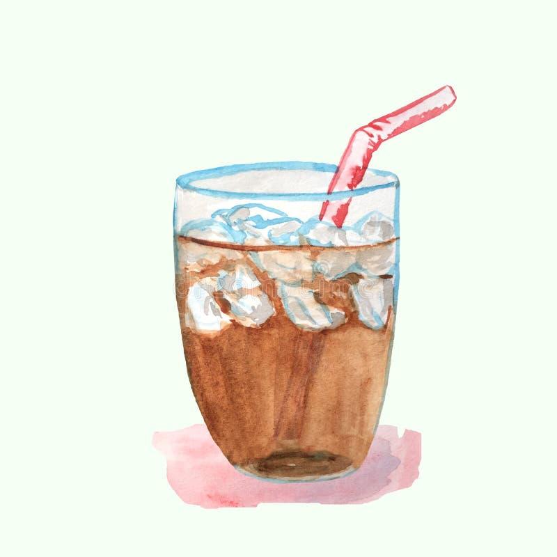 Cocteil med cola i en exponeringsglaskopp med is vektor illustrationer
