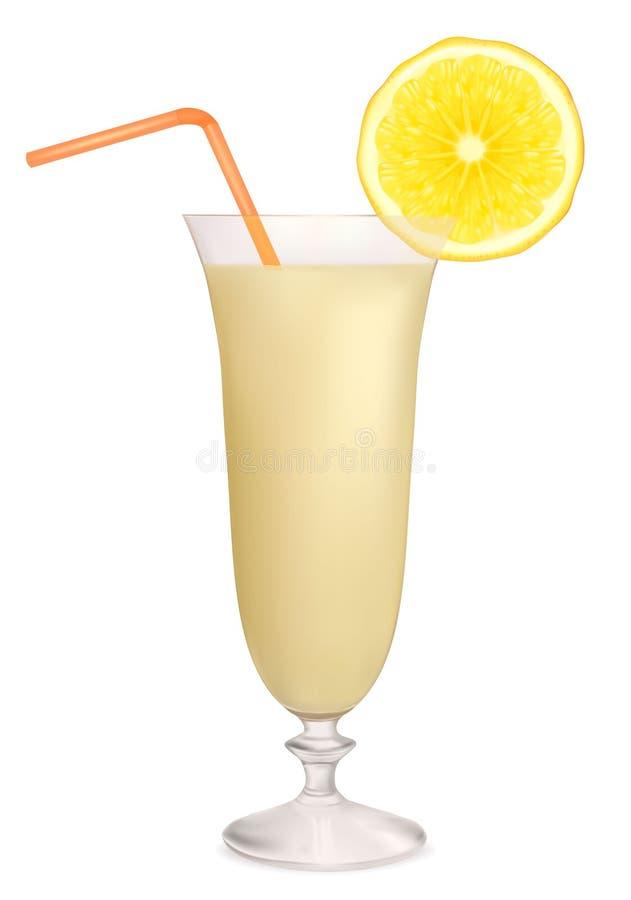 Coctel de la leche con el limón. Vector stock de ilustración