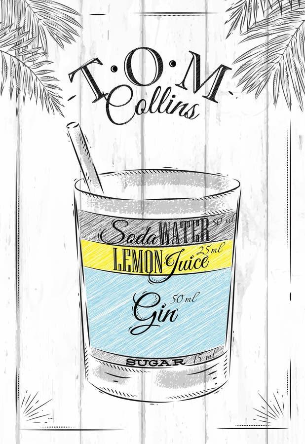 Coctel de Tom Collins stock de ilustración