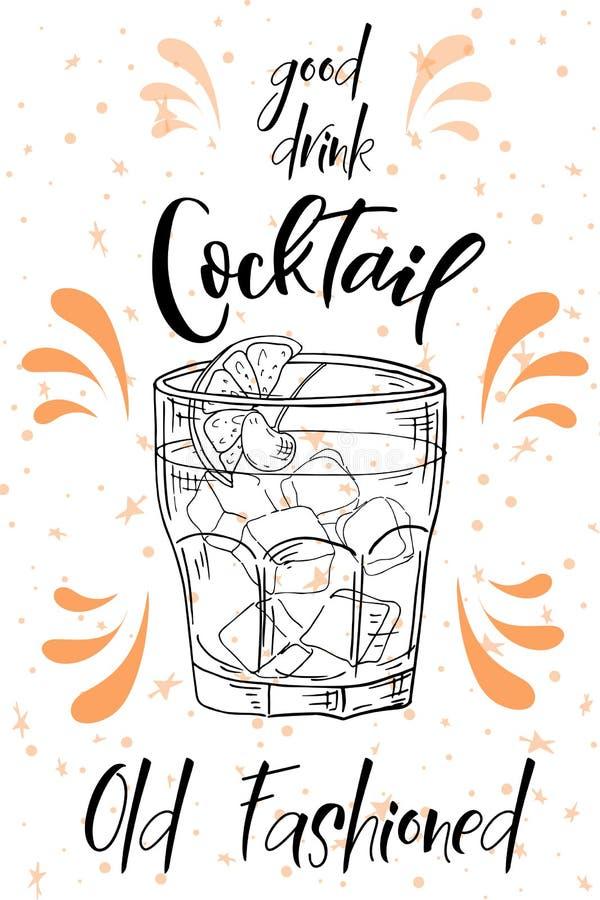 Coctel pasado de moda Bebida dibujada mano en el fondo blanco Ilustración del vector libre illustration