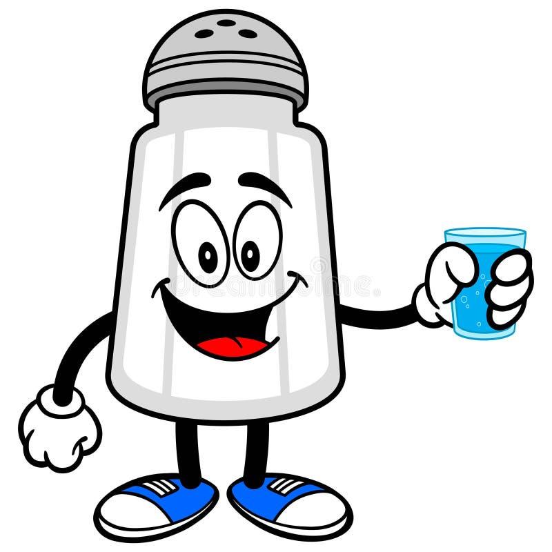 Coctelera de sal con una taza de agua stock de ilustración
