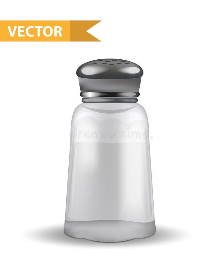 Coctelera de sal realista 3d Tarro de cristal para las especias Aislado en el fondo blanco Alimento secado Vector stock de ilustración