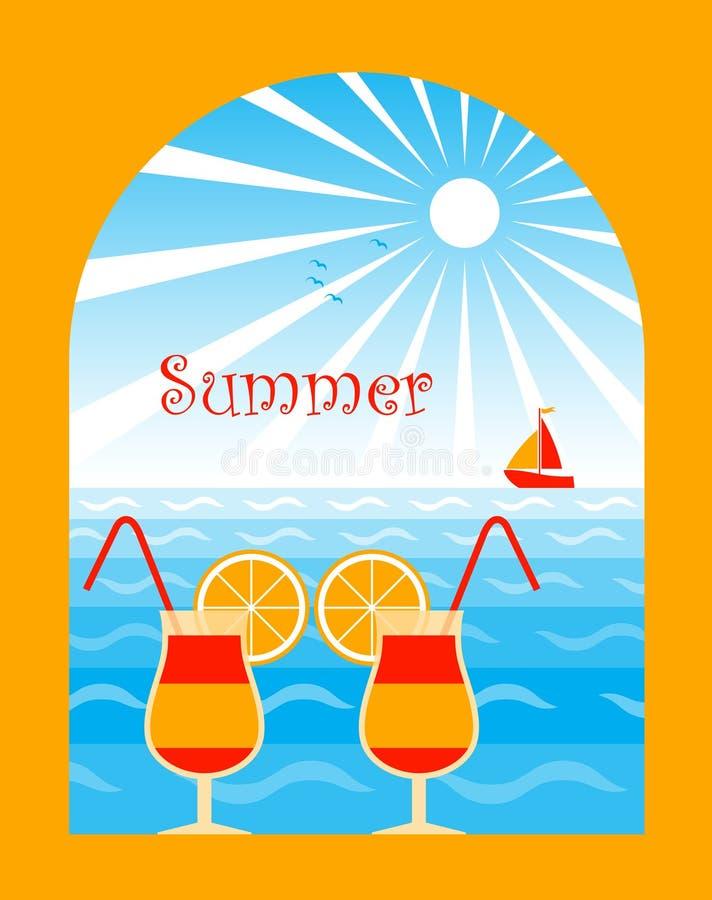 Cocteles del verano stock de ilustración