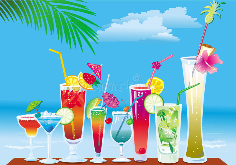 Cocteles en la playa libre illustration