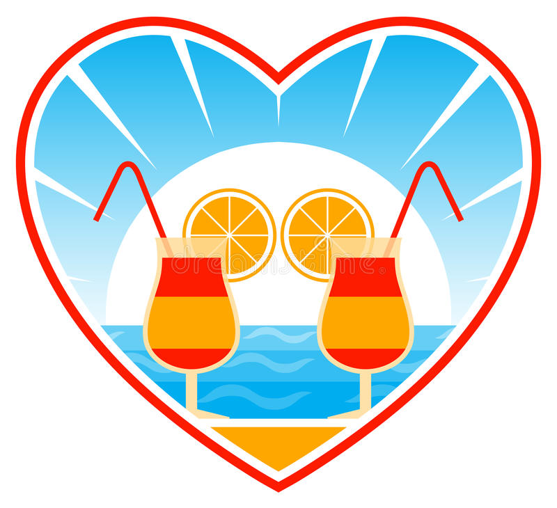 Cocteles en la playa en corazón libre illustration