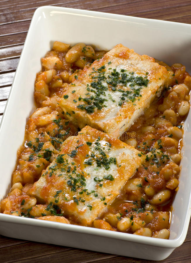 Download Cod and beans in sauce stock image. Image of health, dried - 22753549