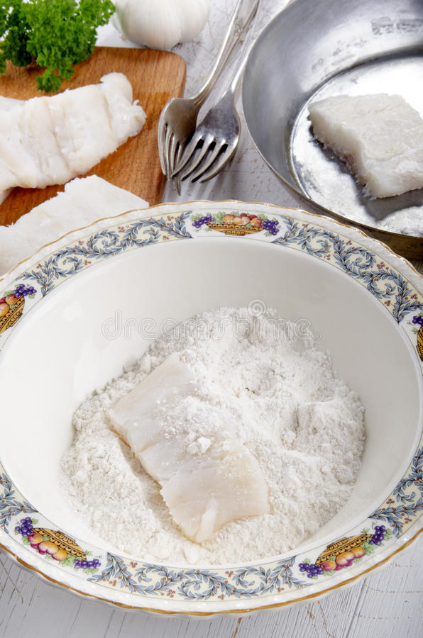 Download Cod filet in flour placed stock image. Image of healthy - 39507183