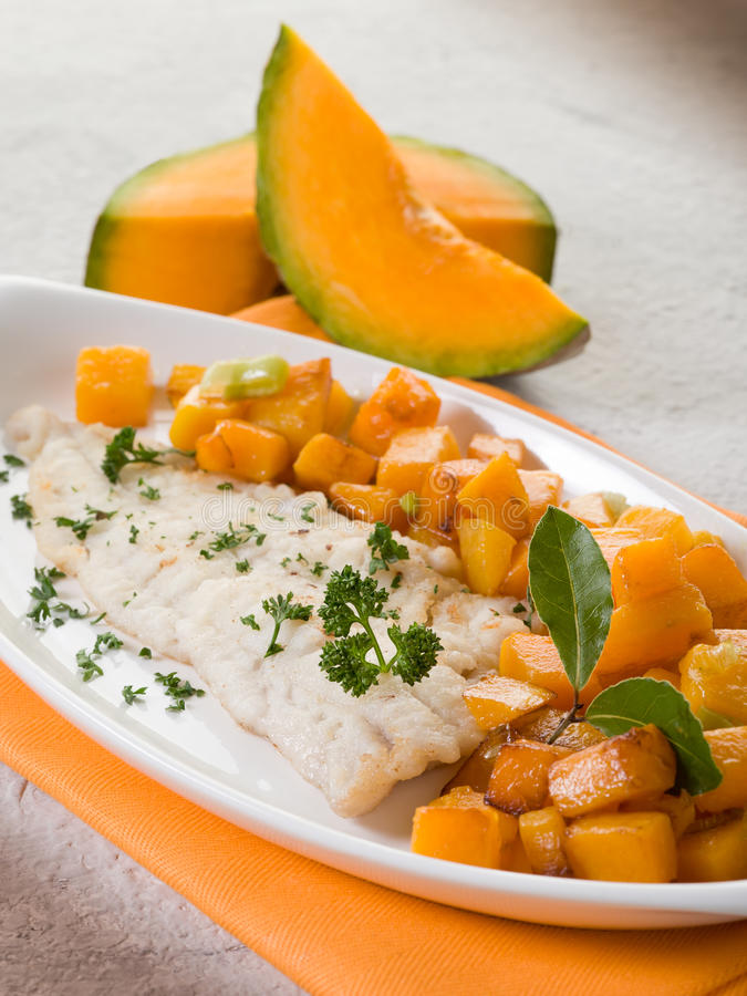 Download Cod fillet with  pumkin stock photo. Image of green, cooked - 22571290