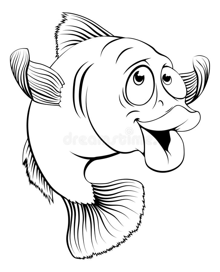Cod fish cartoon. An illustration of a happy cute cartoon cod fish in black and white stock illustration