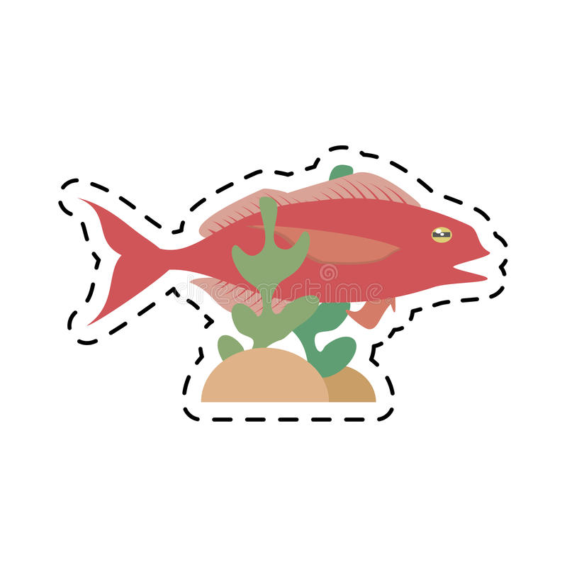 Cod fish sealife food ocean coral. Illustration eps 10 stock illustration