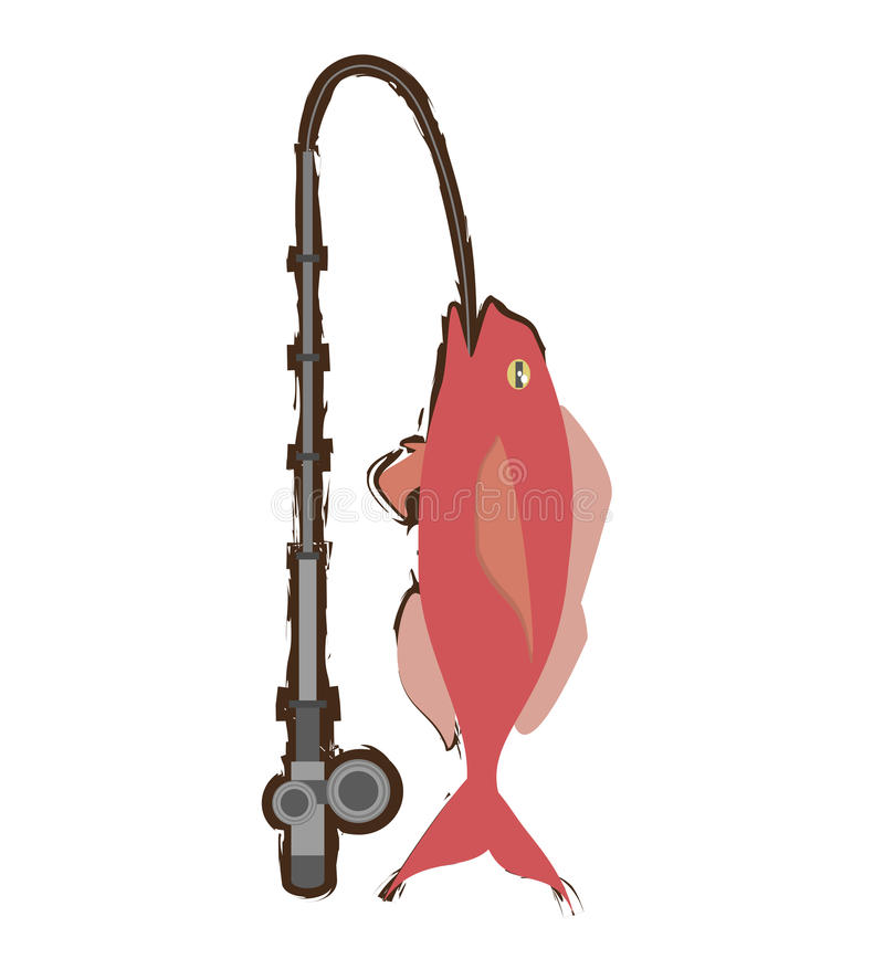 Cod fish sealife food ocean fishing rod. Illustration eps 10 royalty free illustration