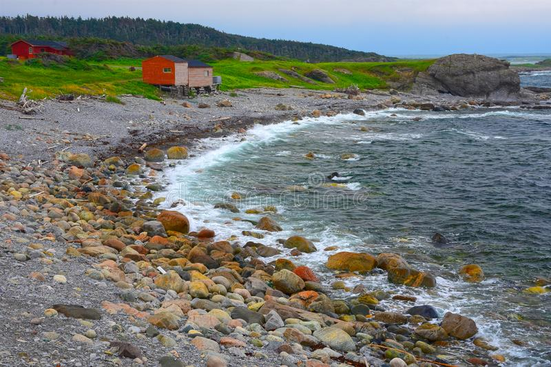 Cod Fishing Shanties at Broom Point, Gros Morne National Park, Newfoundland, Canada. stock images