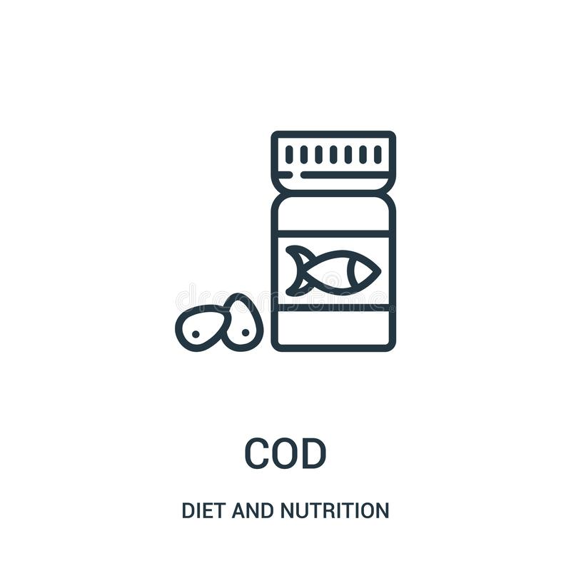 cod icon vector from diet and nutrition collection. Thin line cod outline icon vector illustration. Linear symbol royalty free illustration
